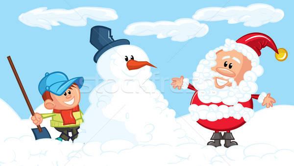 Karikatur Schneemann wenig Junge Schnee Stock foto © antonbrand