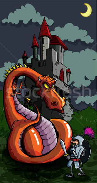 Foto stock: Cartoon · caballero · dragón · medieval