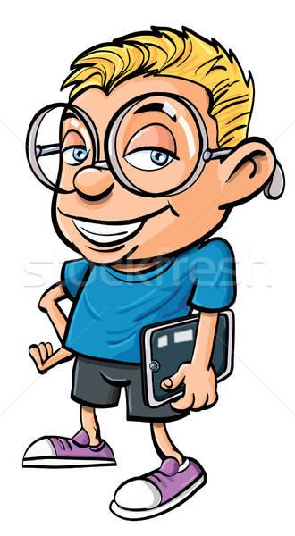 Cartoon nerd holding a tablet computer Stock photo © antonbrand