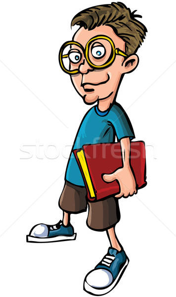 Cartoon nerd with glasses and a book Stock photo © antonbrand
