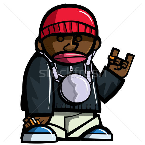 Cartoon hip hop homme isolé blanche musique Photo stock © antonbrand