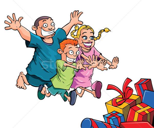Cartoon dzieci uruchomiony christmas prezenty odizolowany Zdjęcia stock © antonbrand