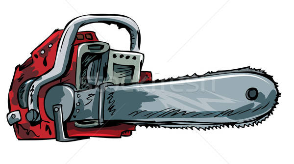Stock photo: Illustration of old chainsaw