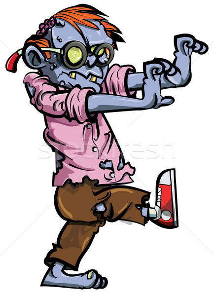 Cartoon zombie nerd with glasses Stock photo © antonbrand
