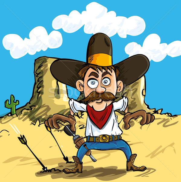 Cartoon cowboy drawing his guns Stock photo © antonbrand