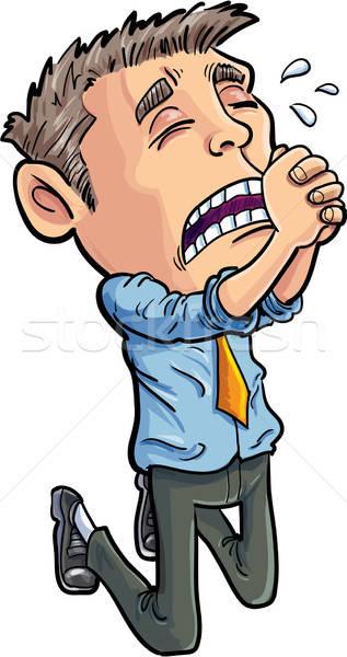Cartoon pracownik biurowy pracy odizolowany biuro mężczyzn Zdjęcia stock © antonbrand