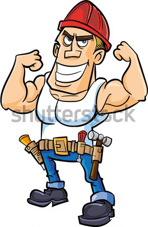 Cartoon muscled soldier with two pistols Stock photo © antonbrand