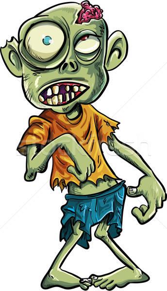 Cartoon zombie grote ogen geïsoleerd witte dood Stockfoto © antonbrand