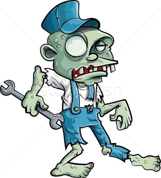 Cartoon zombie plumber with wrench Stock photo © antonbrand