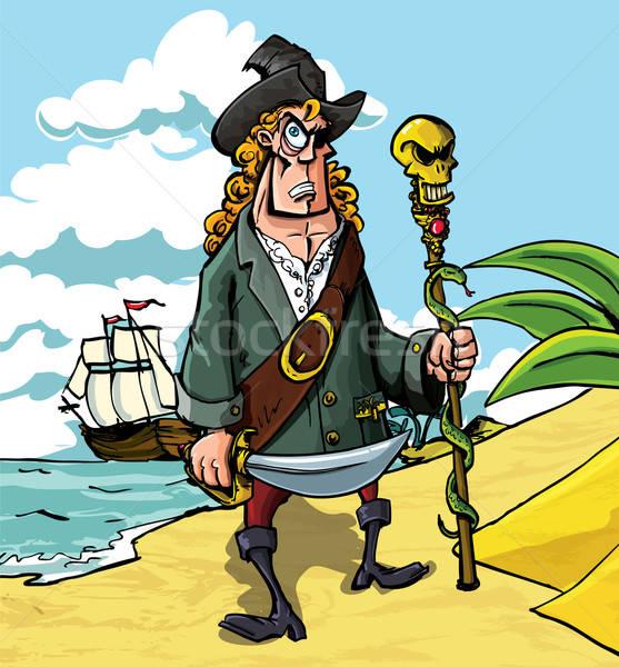 Cartoon pirate on a beach Stock photo © antonbrand