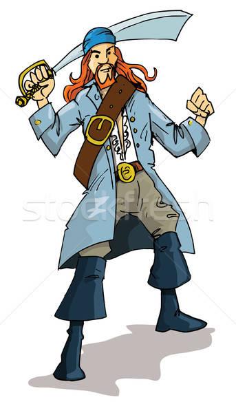 Cartoon of a pirate with a cutlass Stock photo © antonbrand