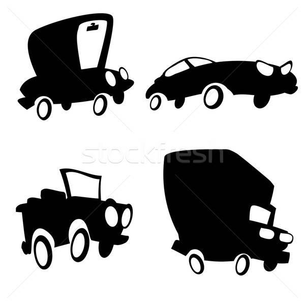 Conjunto desenho animado carros silhueta caminhão jipe Foto stock © antonbrand