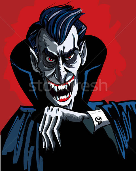 Cartoon vhead and shoulders of a evil vampire Stock photo © antonbrand