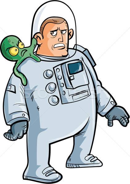 Karikatur Astronaut fremden Schulter isoliert weiß Stock foto © antonbrand