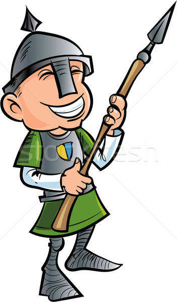 Cartoon friendly spear holder with helmet Stock photo © antonbrand
