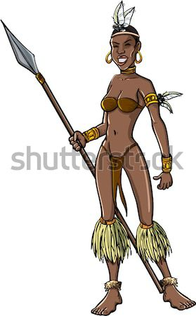 Desenho animado feminino guerreiro lança isolado jovem Foto stock © antonbrand