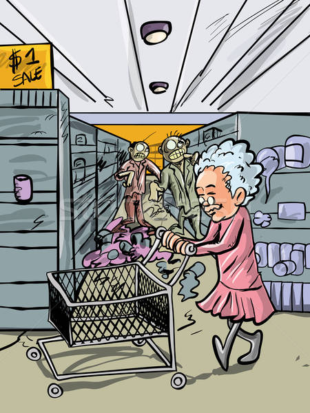 Cartoon granny Shopping zombie marche drôle Photo stock © antonbrand