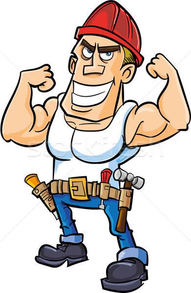 Cartoon travailleur muscles isolé homme heureux Photo stock © antonbrand
