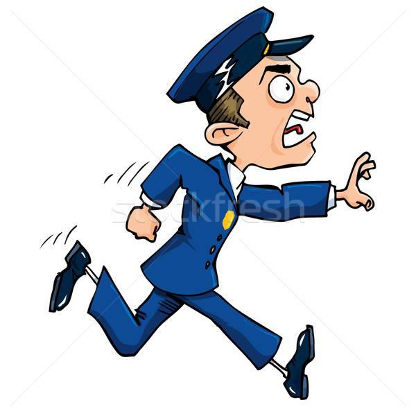 Rajz rendőr fut hív ki izolált Stock fotó © antonbrand