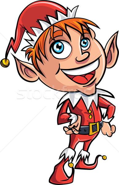 Desenho animado elfo isolado branco férias Foto stock © antonbrand