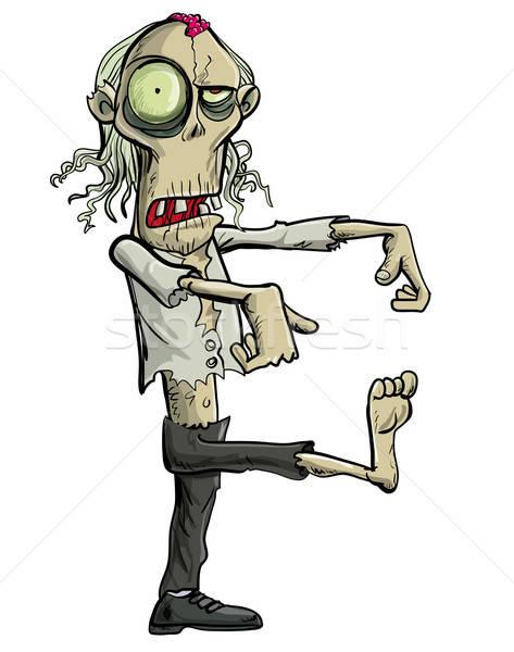 Green cartoon businessman zombie. Stock photo © antonbrand