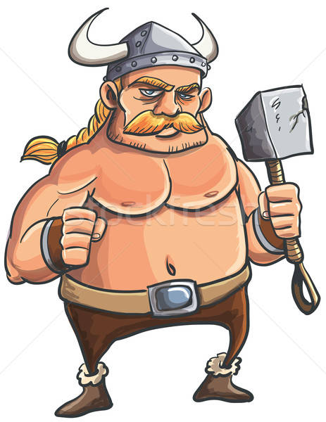 Viking cartoon with a big hammer Stock photo © antonbrand