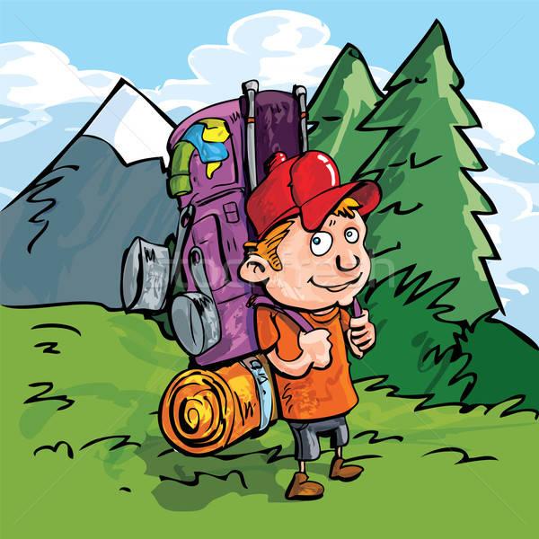 Karikatur Wanderer Wald blau Berg hinter Stock foto © antonbrand