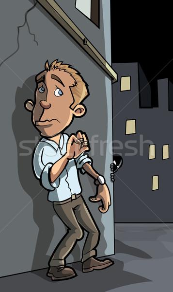 Karikatür suç şehir sokak yüz gece kişi Stok fotoğraf © antonbrand