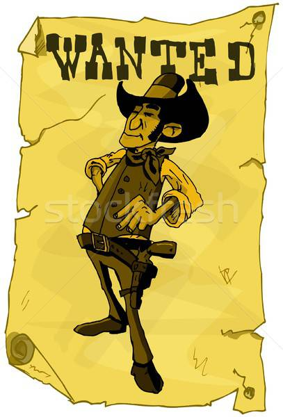 Cartoon wanted poster of a cowboy Stock photo © antonbrand