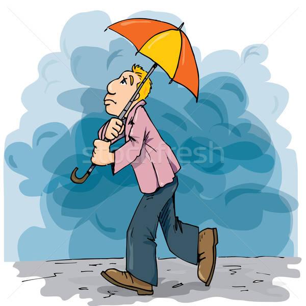 Cartoon of a man walking in the rain with an umbrella Stock photo © antonbrand