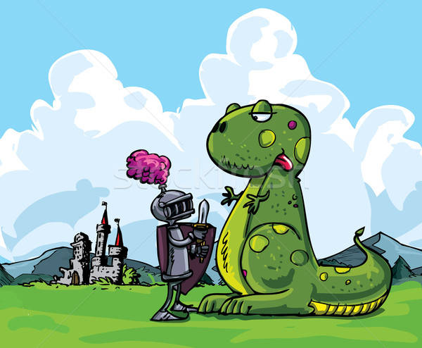 Cartoon of a knight facing a fierce dragon Stock photo © antonbrand