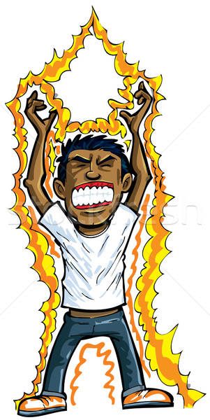 Stock photo: Cartoon of man getting energy