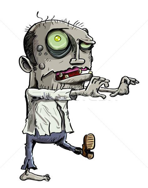 Cartoon illustratie groene zombie kleding gezicht Stockfoto © antonbrand