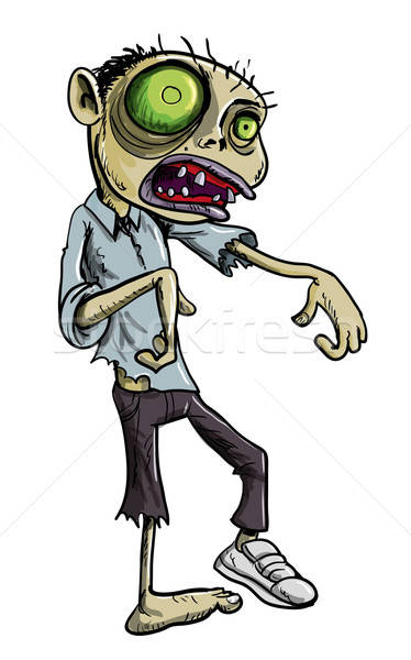Cartoon illustration of green zombie Stock photo © antonbrand