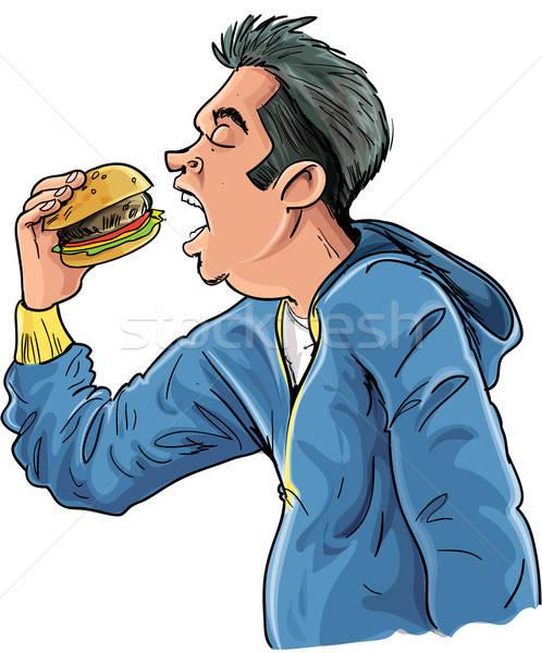 Karikatur teen Essen Hamburger isoliert weiß Stock foto © antonbrand