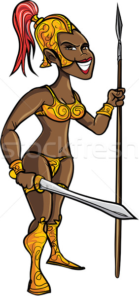 Cartoon black warrior woman with a sword Stock photo © antonbrand