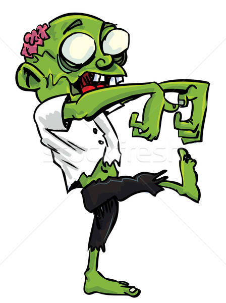 Cartoon zombie with exposed brain Stock photo © antonbrand