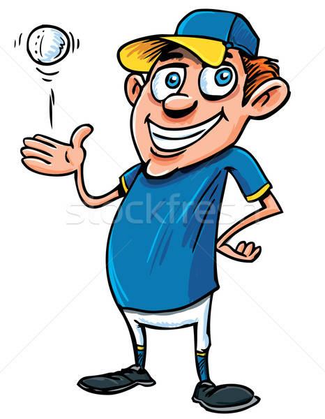Desenho animado jogador de beisebol bola isolado sorrir criança Foto stock © antonbrand