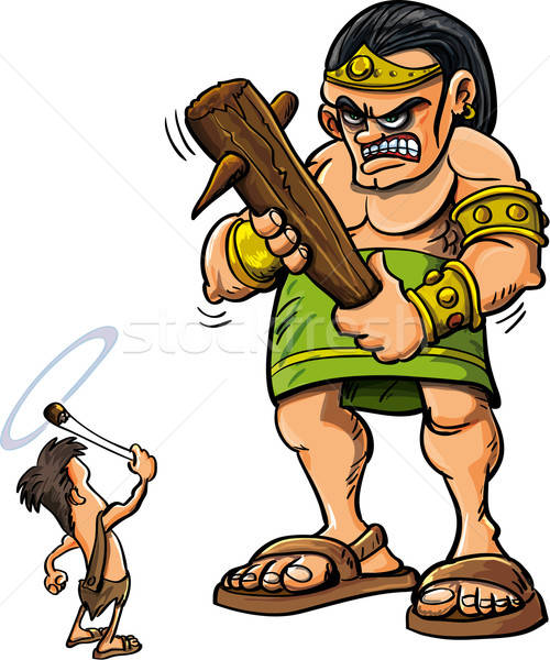 Cartoon David and Goliath Stock photo © antonbrand