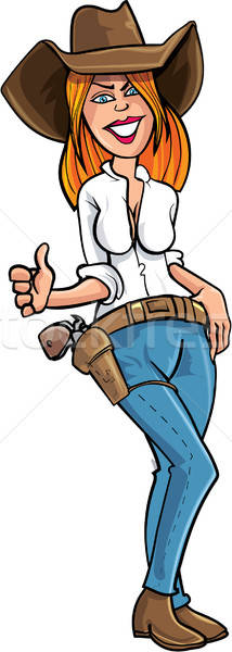 Cartoon cowgirl giving a thumbs up Stock photo © antonbrand