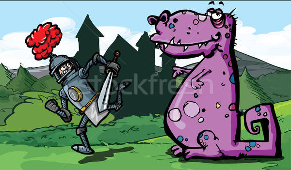 Cartoon of a knight running from a dragon Stock photo © antonbrand
