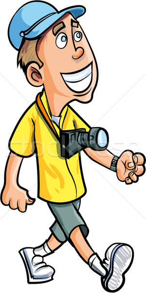 Cartoon smiling tourist with a camera Stock photo © antonbrand