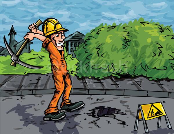 Cartoon рабочий топор дыра дороги Сток-фото © antonbrand