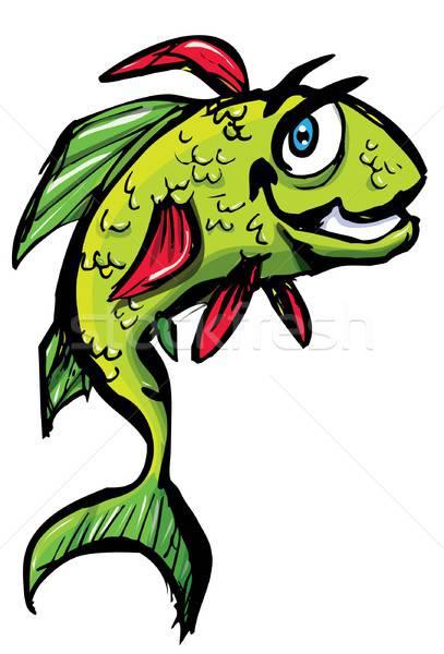 Lächelnd Karikatur Fisch springen isoliert weiß Stock foto © antonbrand