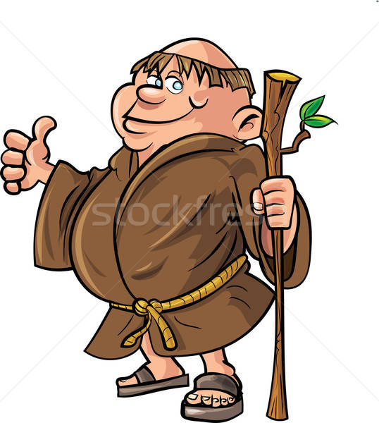 Cartoon monk holding a stick Stock photo © antonbrand