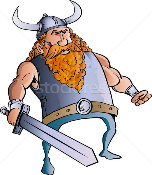Viking cartoon with a big sword. Stock photo © antonbrand