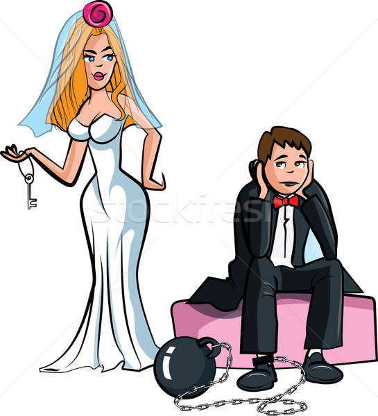 Cartoon Ball and chain. Just married Stock photo © antonbrand