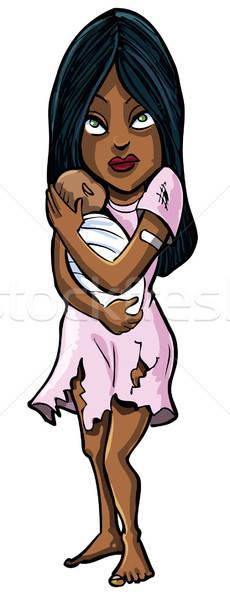 Cartoon kobieta baby ubóstwa brudne pomoc Zdjęcia stock © antonbrand
