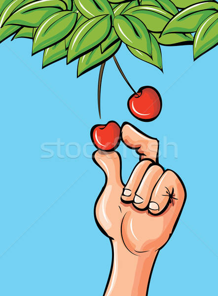 Cartoon hand picking a cherry Stock photo © antonbrand