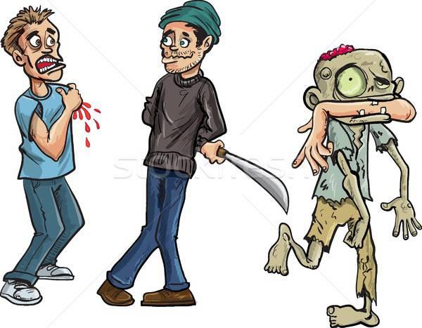 Cartoon of zombie biting a mans arm off Stock photo © antonbrand